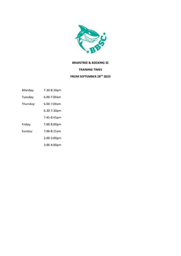 Training Times From September 2020